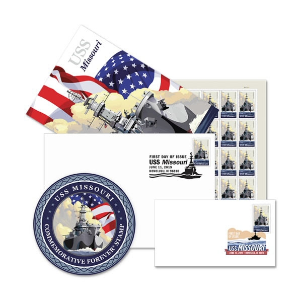 USS MISSOURI 1ST DAY ISSUE STAMP CEREMONY MEMENTO 4 PC SET