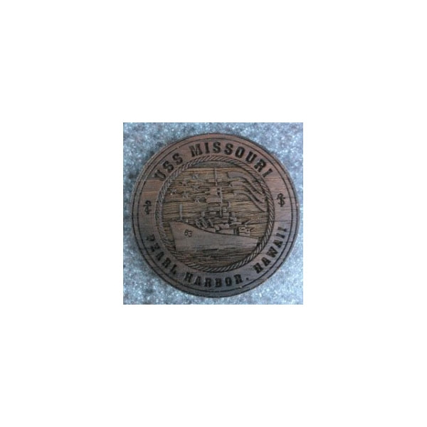 AUTHENTIC USS MISSOURI TEAK COIN
