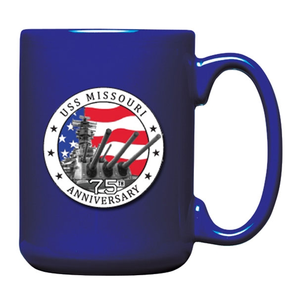 75TH ANNIVERSARY MUG WITH PEWTER MEDALLION