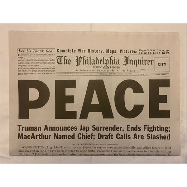 PEACE PHILADELPHIA INQUIRER NEWSPAPER END OF WWII
