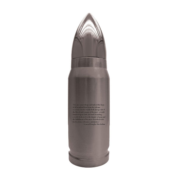 USS MISSOURI SURRENDER SEAL PRINT METAL BULLET SHAPE BOTTLE