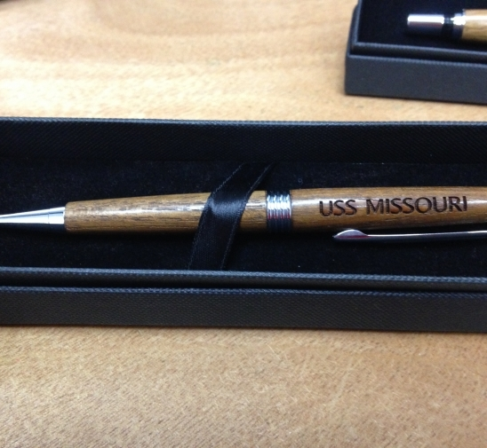 AUTHENTIC USS MISSOURI TEAK SLIM LINE PEN