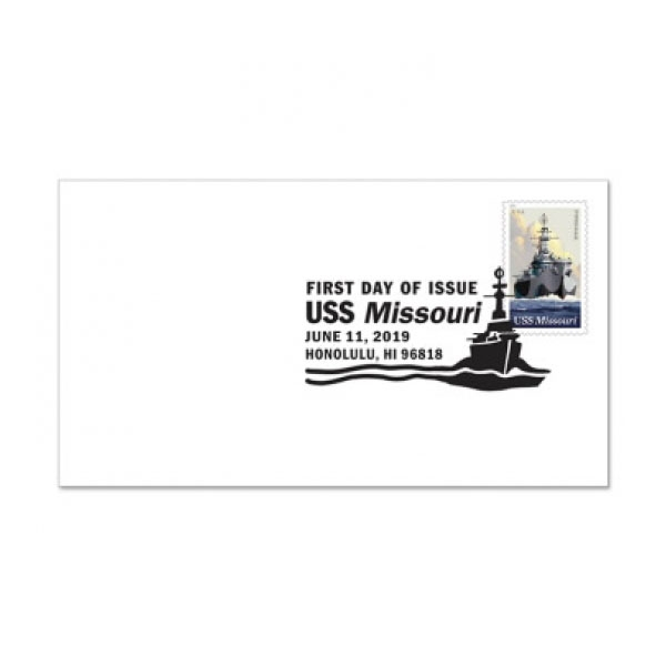 USS MISSOURI 1ST DAY ISSUE B&W FOREVER STAMP ENVELOPE