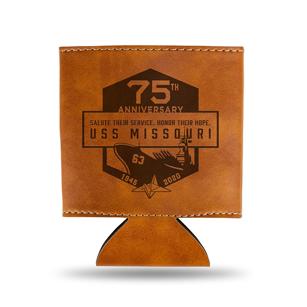 75TH USS MISSOURI FAUX LEATHER COOZIE