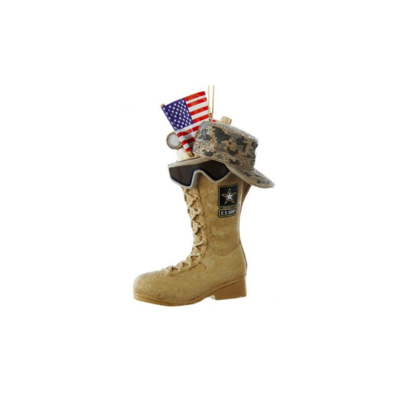 ARMY BOOT WITH FLAG ORNAMENT