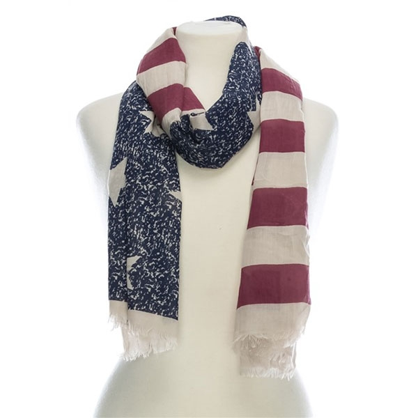 AMERICAN FLAG PRINT COTTON SCARF