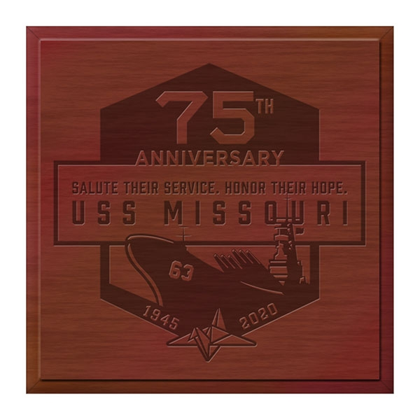 USS MISSOURI 75TH ANNIVERSARY WOODEN BOX With Free GWP 75th Commemorative Coin