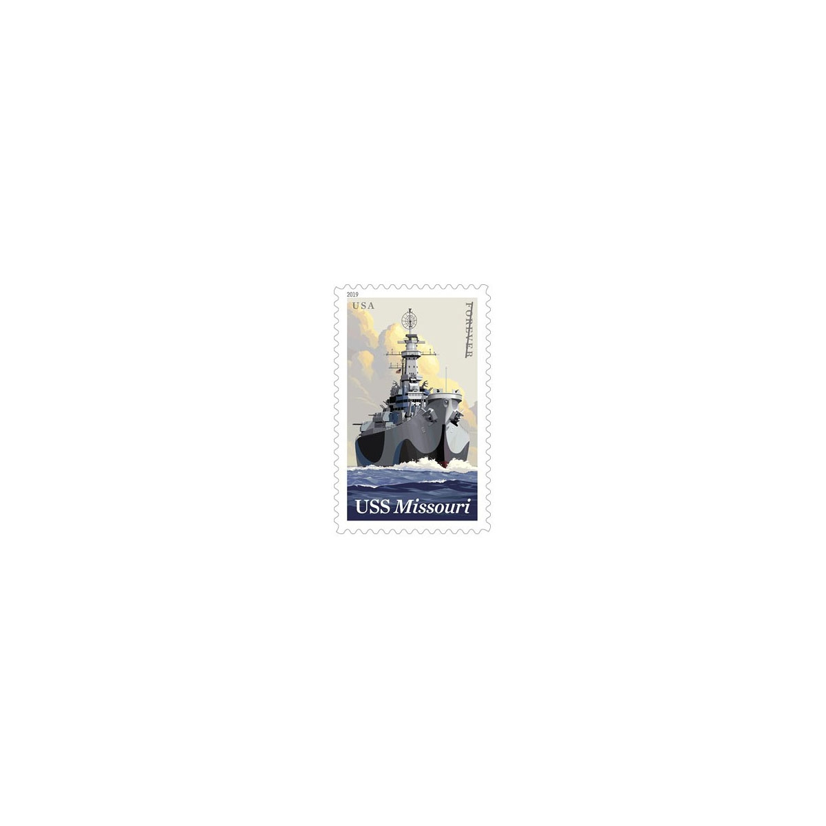 GENUINE USS MISSOURI FOREVER STAMP LAPEL PIN