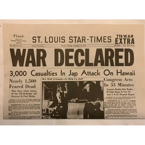 WAR DECLARED NEWSPAPER