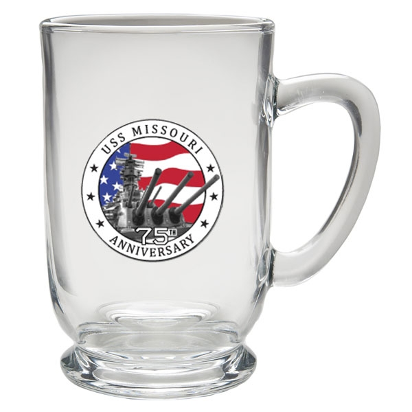 75TH ANNIVERSARY GLASS MUG WITH PEWTER MEDALLION