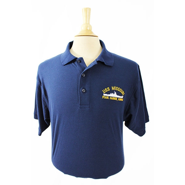 NAVY POLO WITH SHIP SILHOUETTE EMBROIDERY