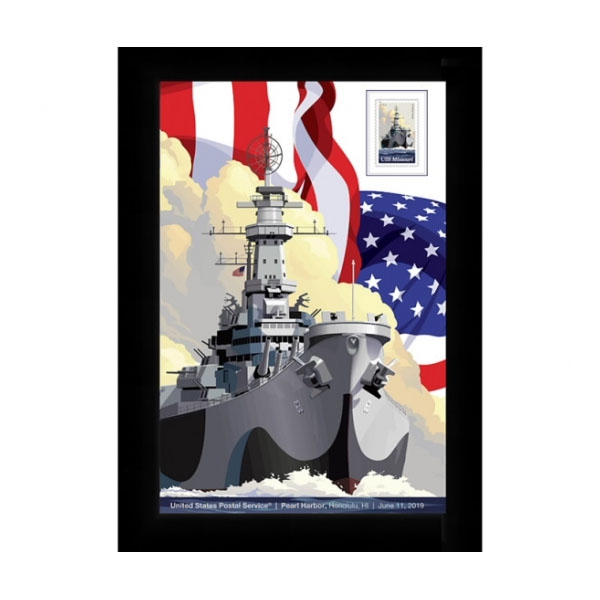 USS MISSOURI FRAMED 1ST DAY ISSUE FOREVER STAMP ARTWORK