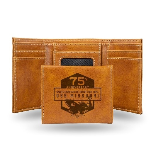 75th USS MISSOURI FAUX LEATHER TRIFOLD WALLET