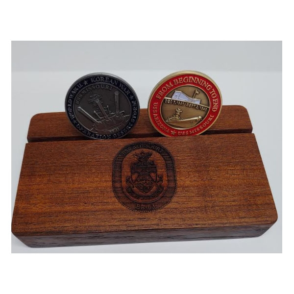 AUTHENTIC USS MISSOURI TEAK MEDIUM COIN HOLDER