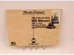 WOODEN POSTCARD 75TH ANNIVERSARY 1ST DAY ISSUE STAMP